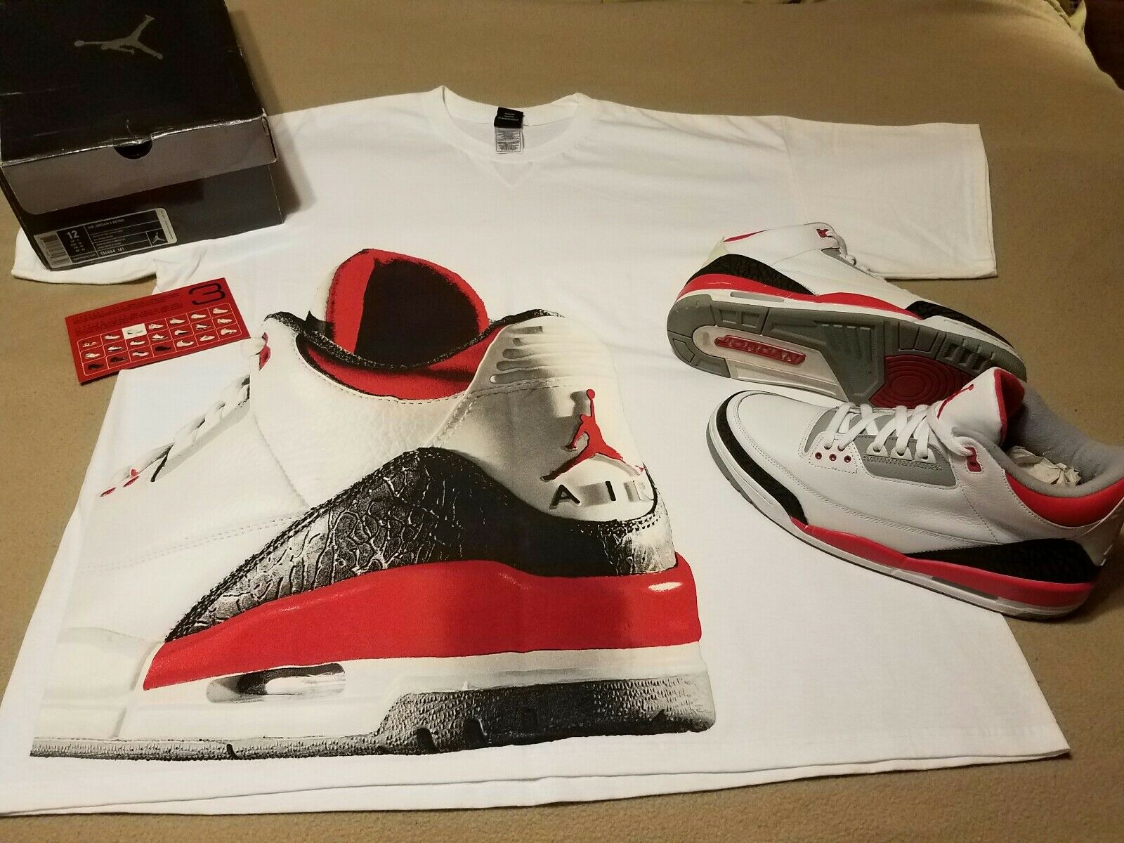Mens Air Jordan 3 III Fire Red with matching tee shirt