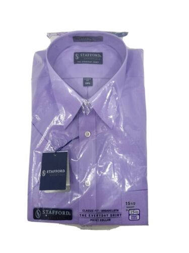 Details about  /NIP $30 Stafford Essentials Cotton Blend Dress Shirt Short Sleeve W Tags 15 1//2