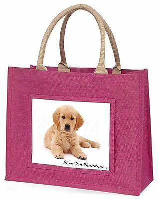 Golden Retriever Welpe 'Liebe dich Oma' Große Rosa Einkaufstasche C,