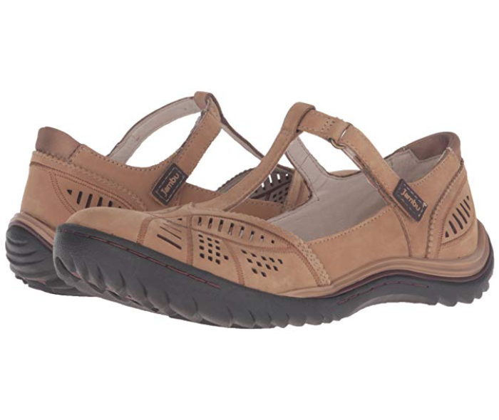 Jambu Jambu Jambu Women's Bridget Leather T-Strap Flat Oatmeal (Choose Size) 8c3014