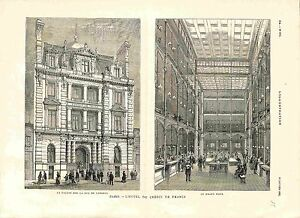 Paris-Hotel-Banque-Credit-de-France-Rue-de-Londres-amp-le-Grand-Hall-GRAVURE-1882