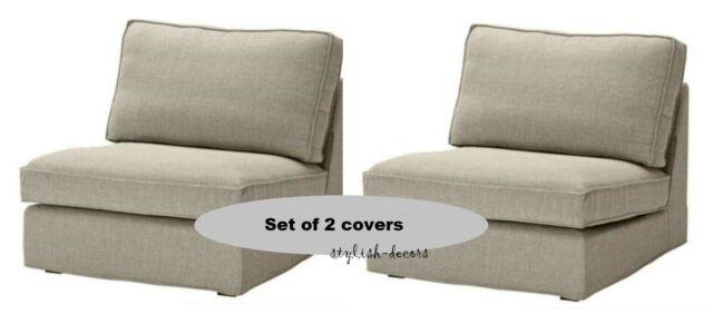 Ikea Kivik 1 Seat Sofa Covers Teno Light Gray Two Sofa Chair Slipcover Set New