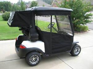 SUNBRELLA TRACK STYLE GOLF CART ENCLOSURE COVER CLUB CAR, EZGO ... on golf cart side curtains, golf cart rain curtains, golf cart convertible top,