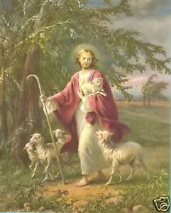 Catholic-Print-Picture-JESUS-the-Good-Shepherd-Simeone-art-8x10-034-ready-to-frame