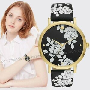 NWT-KATE-SPADE-KSW1498-Floral-Black-White-Leather-38mm-Gold-Tone-Watch