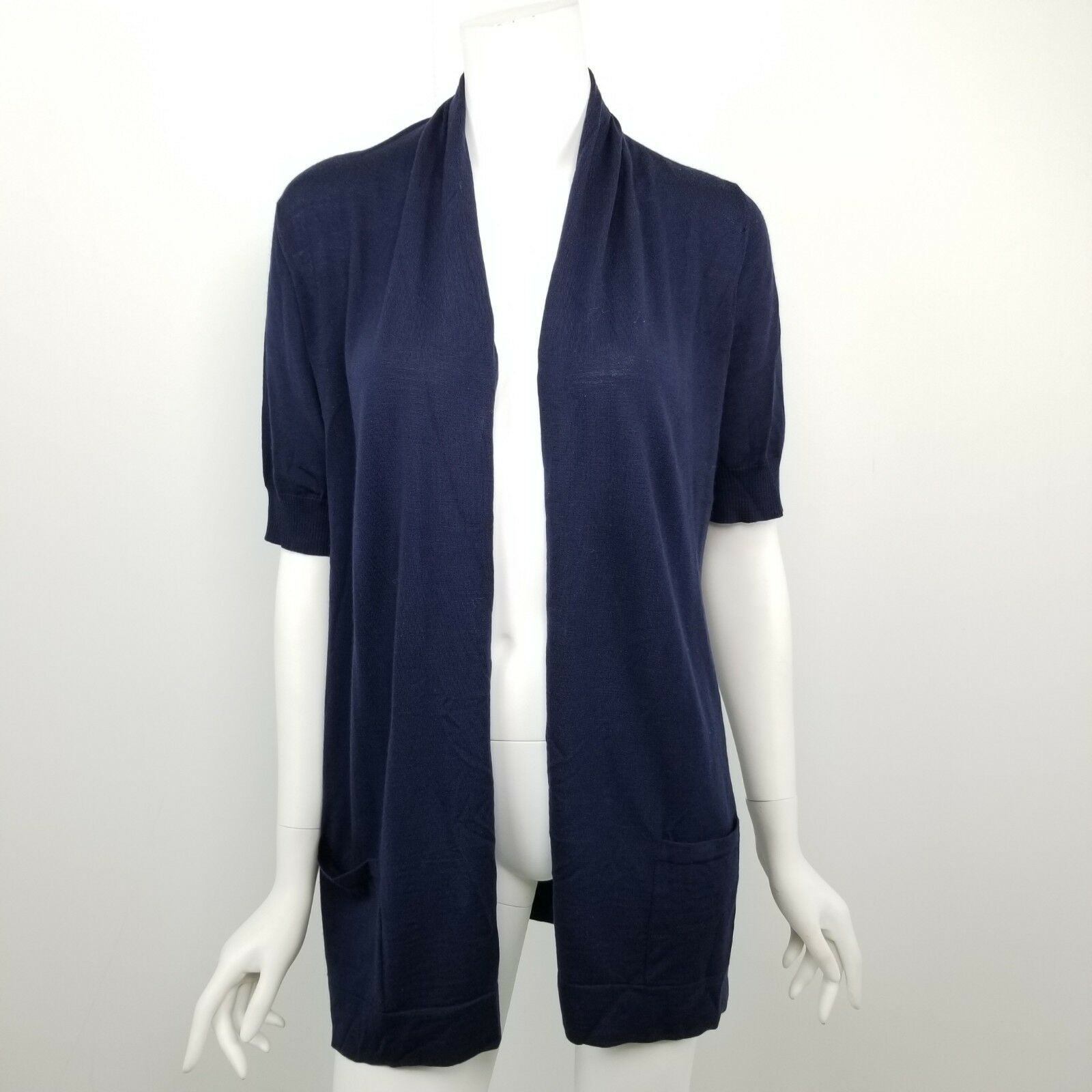 Theory Theory Theory Cardigan Sweater Womens Size Large Adiel Wool Short Sleeve Navy bluee f7a96c