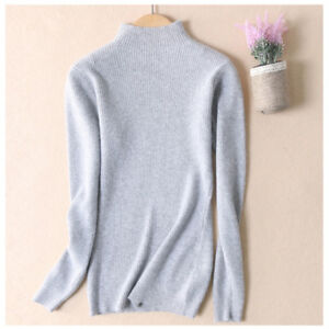8963943b00 Image is loading New-Ladies-Half-Turtleneck-Cashmere-Sweater-Women-Pullover-