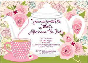 10 X Personalised Afternoon Tea Party Invitations And Thank You Cards