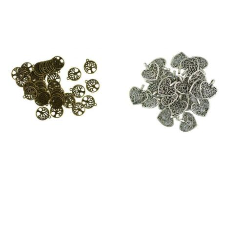 150 Piece Silver Heart Charms Pendant for DIY Jewelry Making Findings Craft