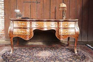 TrÈs grand bureau 187x95cm en bois massif 5 tiroirs ornements bronze