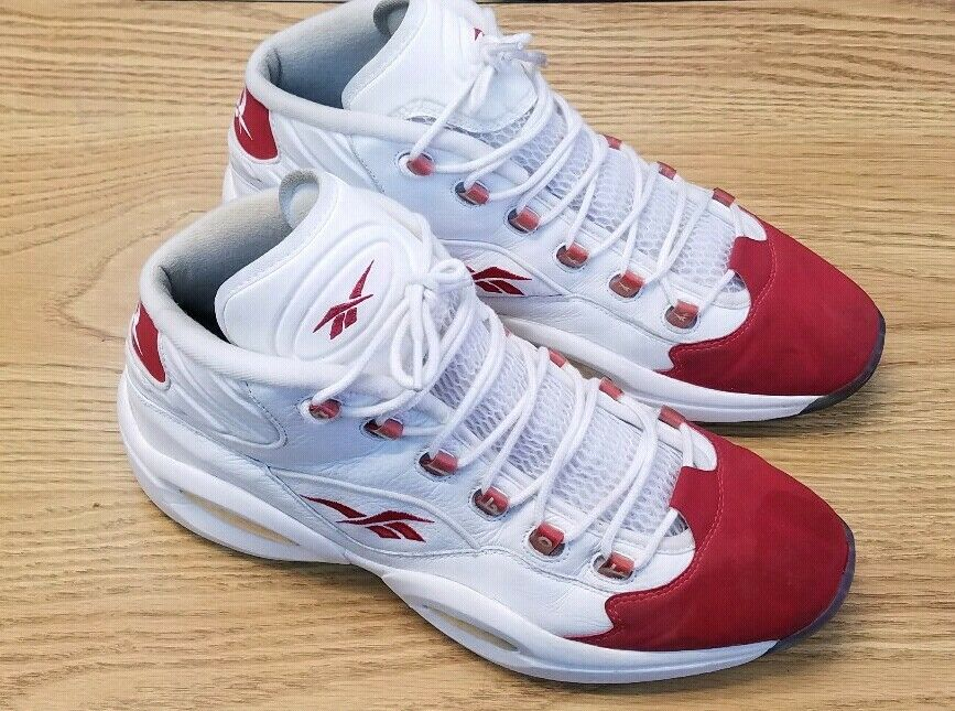VINTAGE REEBOK Iverson Question Mid OG Red Toe Cap Collector Sneakers SZ13