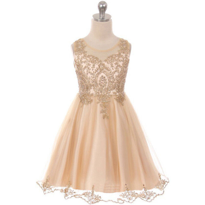 CHAMPAGNE Flower Girl Dress Prom Pageant Dance Graduation Bridesmaid Formal Gown