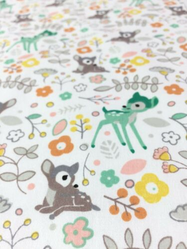 100/% cotton poplin fabric. Adorable woodland deer print