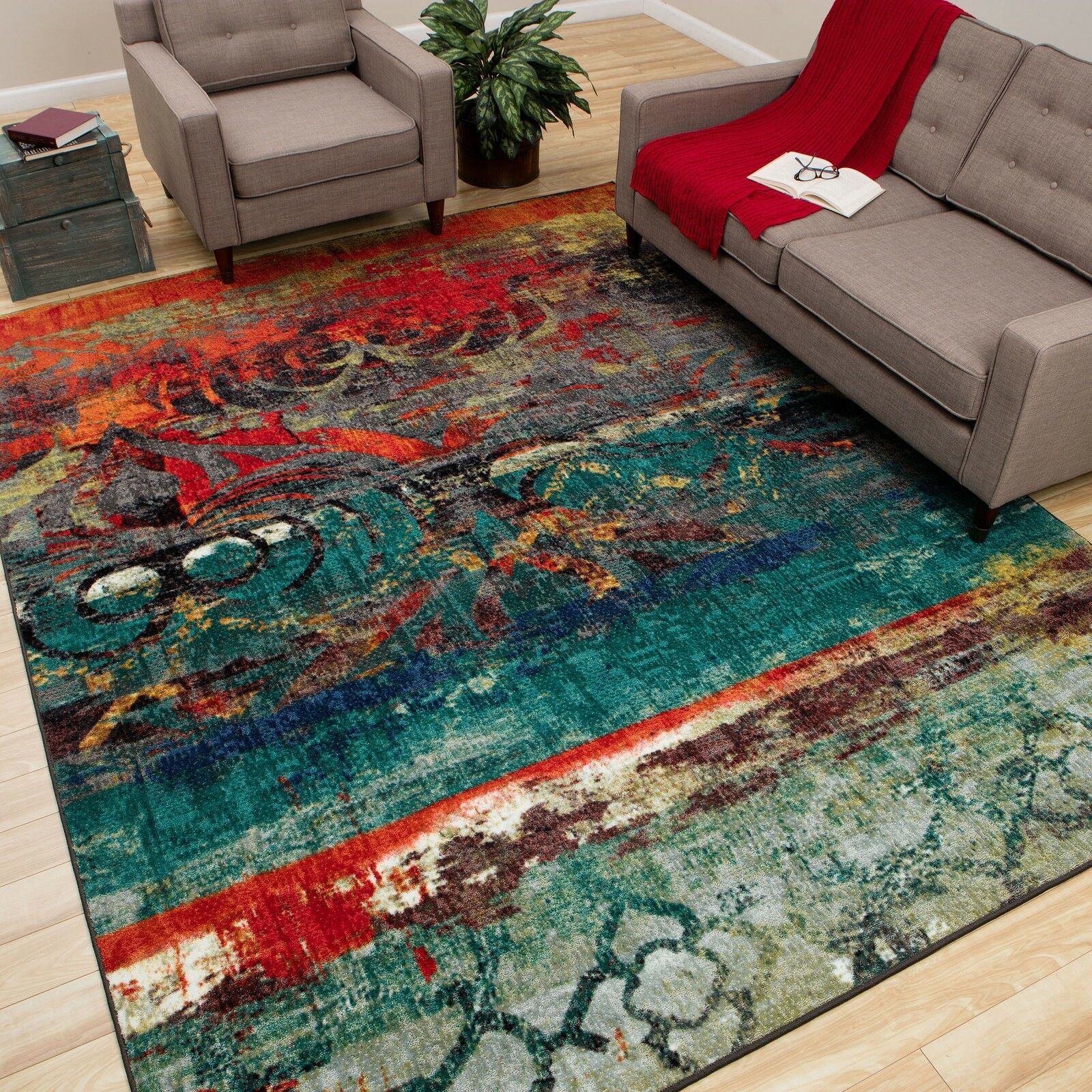 Red and teal rugs roselawnlutheran for Bright blue area rug