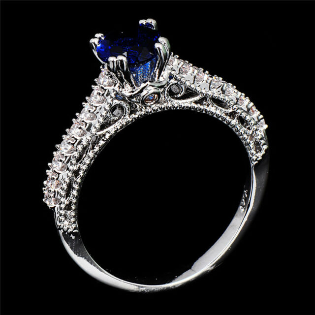 7mm Blue Sapphire Rings Size 6/7/8/9/10 Womens White Gold Filled Engagement Ring