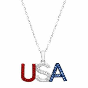 Red, White & Blue 'USA' Pendant With Swarovski Crystals in Sterling Silver, 18