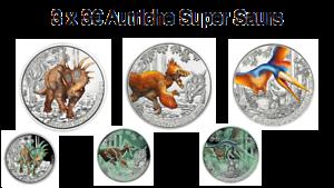 Lot 3 x 3 Euros Autriche Coloful Super Saurs 2020 / 2021