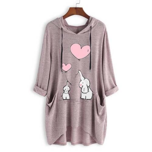 Damen Longshirt Pullover Hoodie Sweatshirts Kapuzenpullover Baggy Jumper Longtop