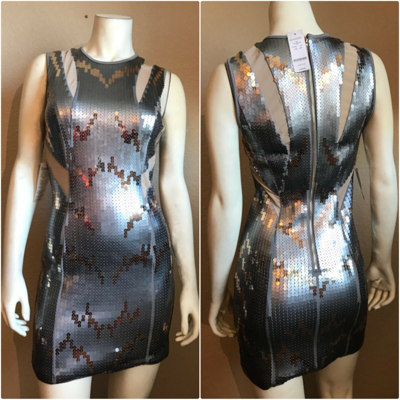 Bebe Gissele Mesh Sequin Dress Size XS