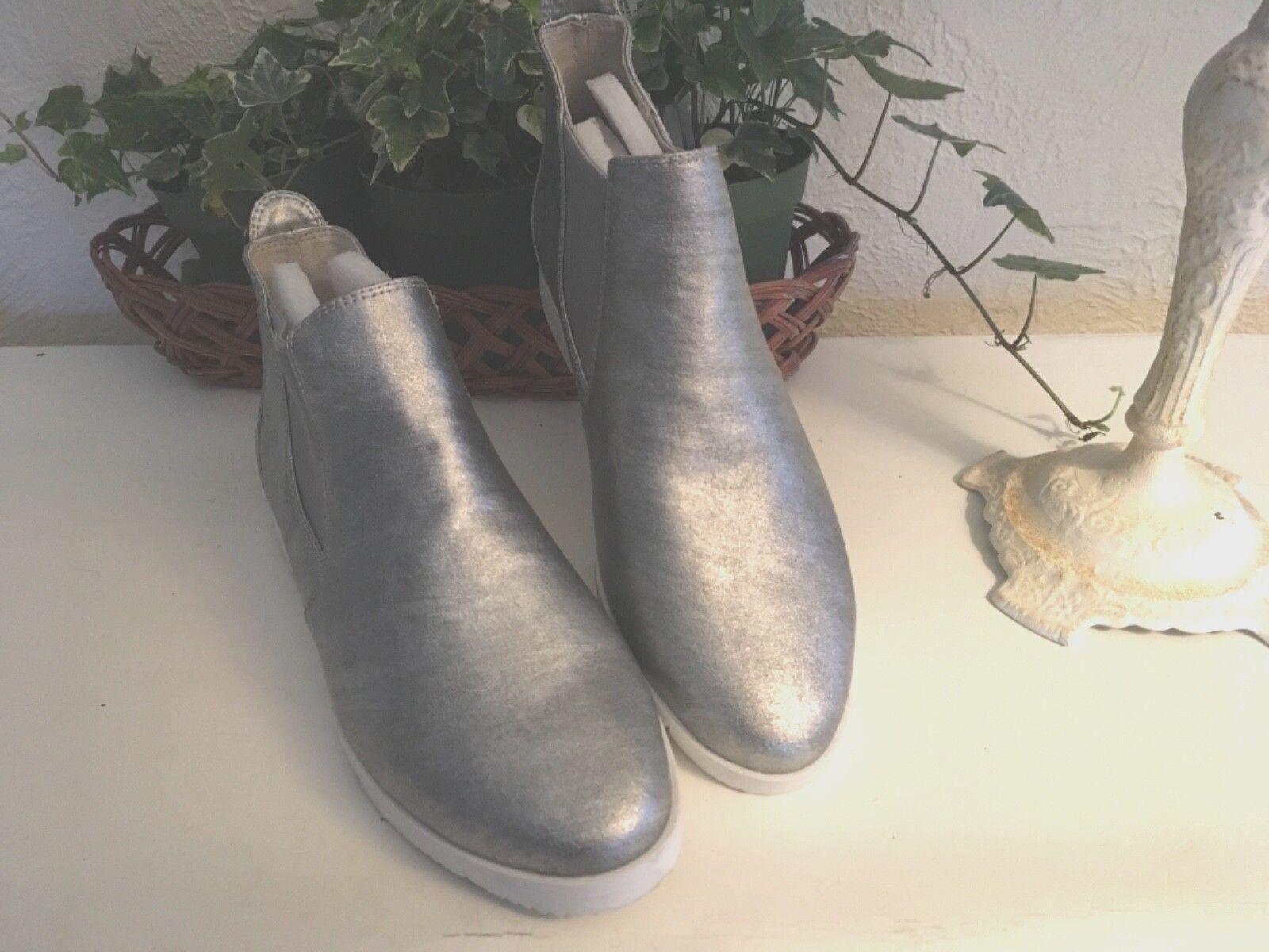 Cougar vattentät Läder Ankle Stövel Kvinnans metalliska silverstorlek 6 Medium ny