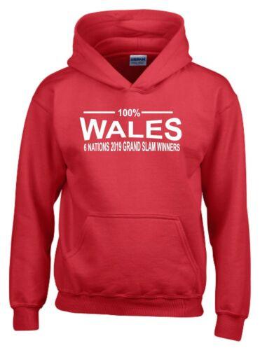 100/% Wales Six Nations 2019 Grand Slam Winners Kids Rugby Hoodie