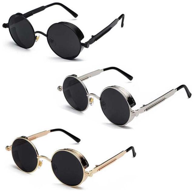 Vintage Round Metal Men SteamPunk HD Sunglasses Women UV400 Protection Glasses