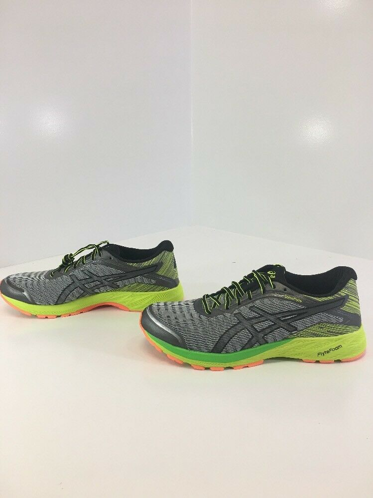 ASICS MEN'S DYNAFLYTE RUNNING SHOE MID GRAY/BLACK/SAFETY YELLOW SZ NWT