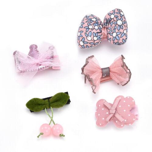 5Pcs//Set Baby Girl Kids Cute Hair Clips Bowknot Heart Crown Headwear Hairpins TR