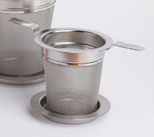 Teesieb Edelstahl Teefilter mit Abtropftablett 6 cm Doppelhenkel