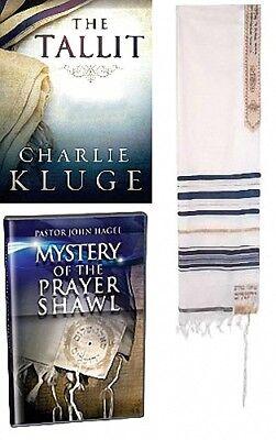 Buono John Hagee Preghiera Scialle Tallit Pkg - 50 X 72 Cm Blu E Oro Strisce W/ Libro Facile Da Lubrificare