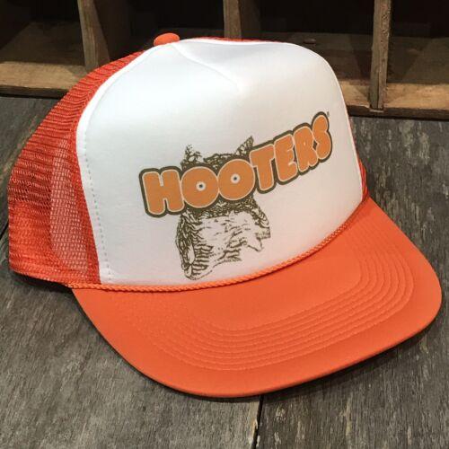 Vintage 80's 90's Style Snapback Orange Mesh Cap Hooters Owl Trucker Hat