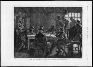 1875 Antique Print - FINE ART Among Brigands  Victim Cross Examination (G161)
