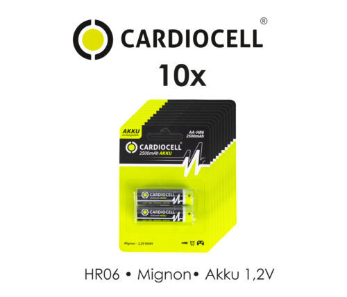 20x Cardiocell Rechargeable NiMH Accu AA Mignon LR06 1,2V 2500mAh,Lampen,Waagen