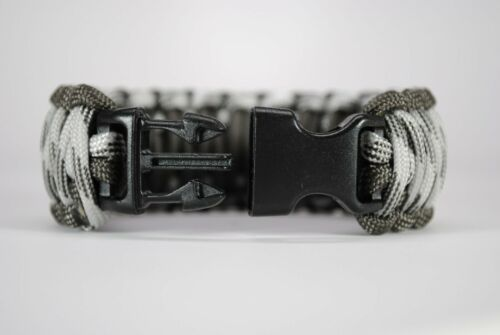 "550 Paracord Survival Bracelet King Cobra Gray//Nuances de gris /""MADE IN THE USA/"""