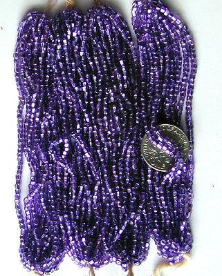 Antiguo Uva Púrpura Plateado Forrado Abalorios Semilla De Cristal Mini Hanks 100% Original