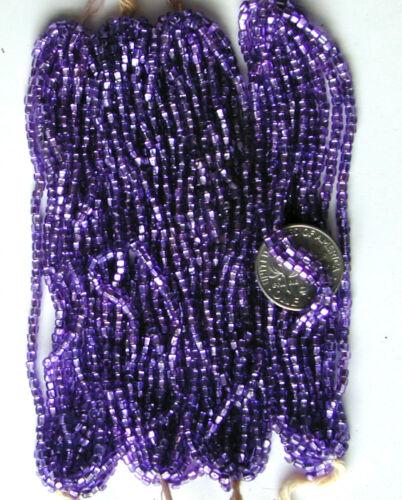 Antique Grape Purple Silver Lined Glass Seed Beads Mini Hanks RARE COLOR HUE!