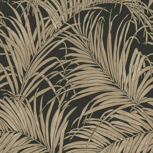 ARTHOUSE KISS FOIL PALM LEAF WALLPAPER BRONZE SILVER METALLIC