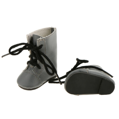 Fashion Shoes Lace up Boots for 14/'/' AG American Doll Wellie Wisher Doll Gray