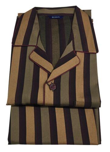 GUASCH Pyjama Homme Boutonné à Rayures Chameau//Militaire//Bordeaux Coton PC130
