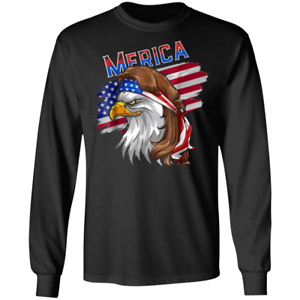 USA Cool Gift Eagle Mullet American Flag Merica Long Sleeve T-shirt 100/% Cotton