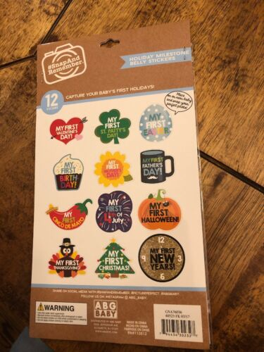 New ABG Baby Holiday Milestone Belly Stickers Photo Prop Photographs