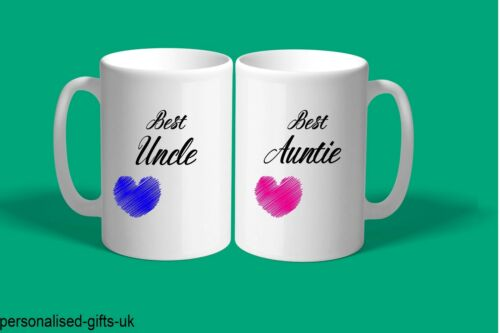 PERSONALISED AUNTIE UNCLE SET OF 2 MUGS  COFFEE//TEA CUP PRESENT GIFT/'S BIRTHDAY