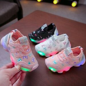 Children-Kids-Baby-Shoes-Girls-Butterfly-Crystal-LED-Sport-Run-Sneakers-Shoes-AU