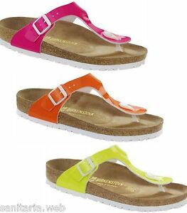Image is loading Birkenstock-GIZEH-Pink-Orange-Yellow-Neon-Pink-Slippers- bb8f6251f4e