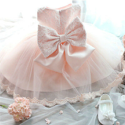 NEW Baby Girl Kids Princess Party Tutu Bow Floral Petal Lace Tulle Formal Dress