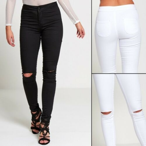 JUSTYOUROUTFIT Womens Plus Size High Waist Knee Ripped Skinny Jeans JB919 PLUS