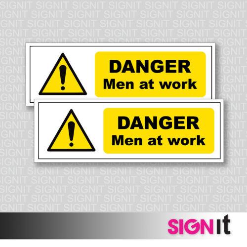 Safety Sign Vinyl Sticker Danger Men At Work 50mm x 150mm