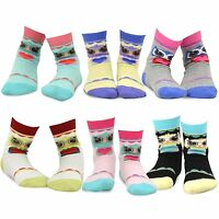 Teehee Kids Girls Fashion Animals Face Design Socks 6 Pair Pack (owl's Face)