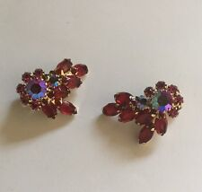 Costume Earrings Vintage Clip On Clip-ons Prong Set Rhinestones Signed WEISS