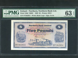 Northern-Ireland-P-188d-5-Pounds-1982-Northern-Bank-PMG-Ch-UNC-63-EPQ